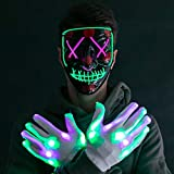 Halloween Led Mask Light Up Scary Mask and Gloves