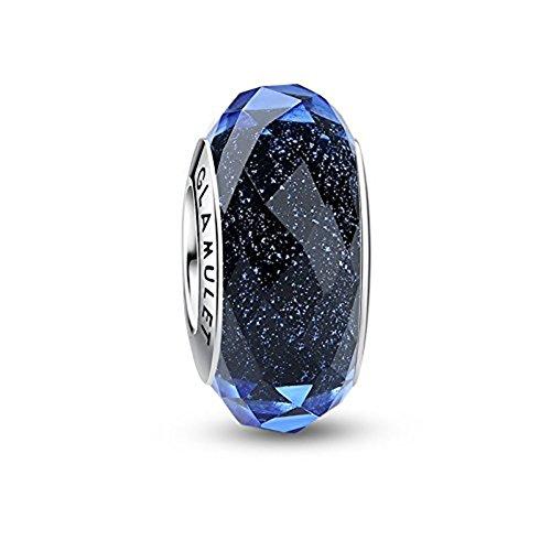 Glamulet Murano Glass Charms Beads for Pandora Bracelets Pandora Charm 925 Sterling Silver Disney Art Pendant Jewelry, Blue Bubbles