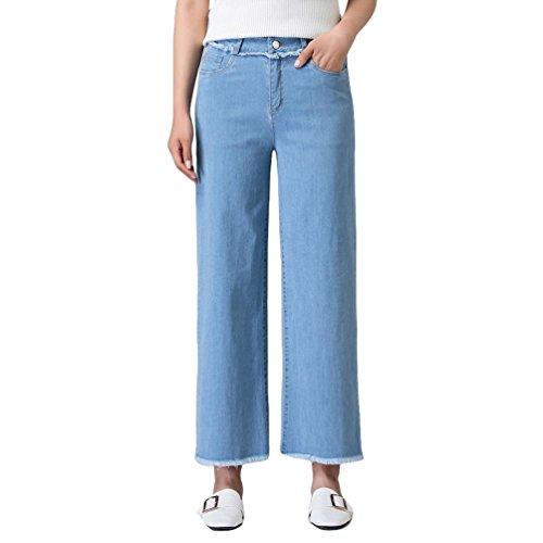 Xinwcanga Mujer Ligero Pantalones Mezclilla de Pierna Ancha con Borla Vaqueros Luz Azul