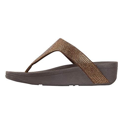 (FitFlop Women's Lottie Shimmer Crystal Bronze/Chocolate Brown 7 M US )