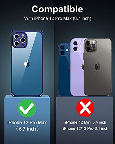 iPhone 12 Pro Max Phone Case - USLAI Clear Cover 360°Full Body Protective case, Thin Lightweight Protection Shockproof, Non-Yellowing, Mag-Safe, with Silicone Edge for iPhone 12 Pro Max, Sapphire