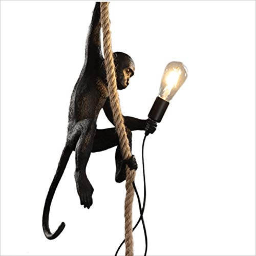 Creative LampArt Household Monkey Style Resin Rope LampcolorBlack Industrial E27 Personality Vintage ChandelierHemp PTOkXiZu