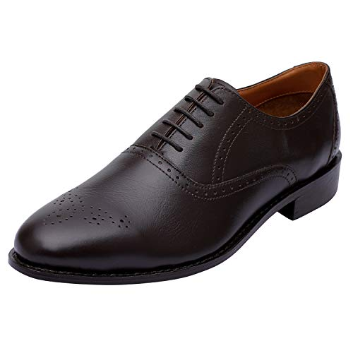Lethato Handmade Brogue Oxford Goodyear Welted Genuine Leather Lace up Dress Shoes- Brown