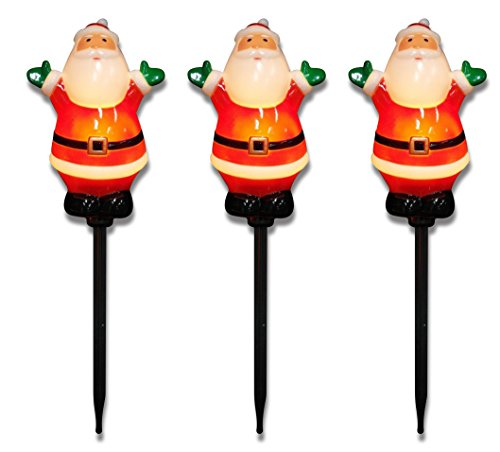 Prextex Set of 3 Lighted Santa Lawn / Garden Stakes Christmas Decoration for Outdoors Pathway Lights Christmas Décor