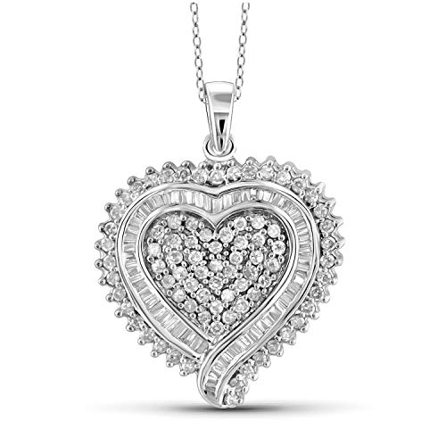 JewelExcess 1 Carat T.W. White Diamond Sterling Silver Solid Heart Dual Pendant