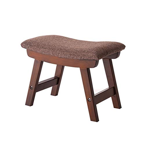 (ye Wooden Support Footstool Ottoman Pouffe Chair Walnut Color Stool Upholstered Concave Seat Surface Padded Bench with Removable Linen (Color : B))