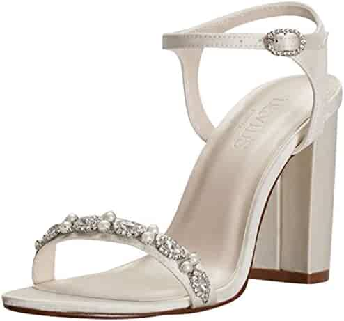 b904a38a5a1b David s Bridal Embellished Satin Block Heel Sandals Style ELSA