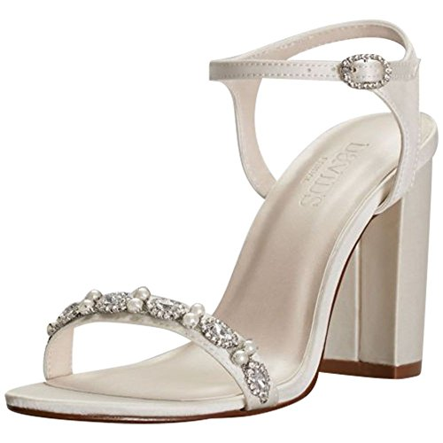 (Embellished Satin Block Heel Sandals Style ELSA, Ivory,)