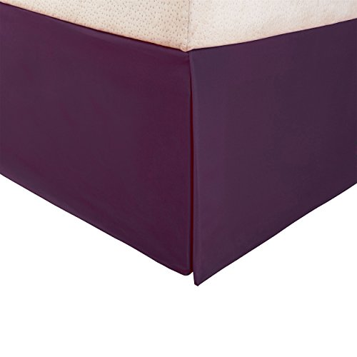 "Superior 1500 Series Premium Quality 100% Brushed Microfiber Bed Skirt with 15"" Drop, Pleated Sides and Split Corners, Fade and Wrinkle Resistant - Queen, Plum (Valance Bed)"
