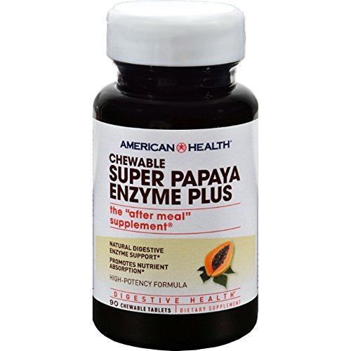 American Health Super Papaya Enzyme Plus Chewable - Digetive Health - Gluten Free - 90 Chewable Tablets (Pack of 2) by American Health