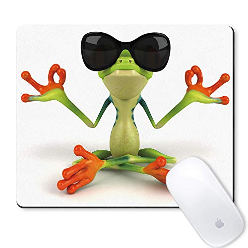 JULYE Gaming Mouse Pad Anime Cute Funny Colorful Frogs Wearing Sunglasses to Practice Kung Fu Mousepad Non Slip Rubber Mouse Mat Mouse Pads for Computers Laptop -Frog