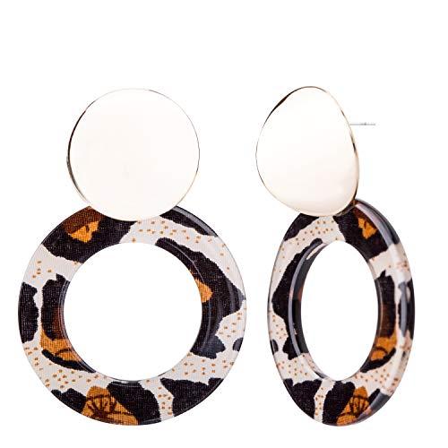 SILVERAL Dangle Earrings Geometric Circle Leopard Print Resin Acrylic Earrings Fashion Jewelry for Womem(Fashion Circle-A-B)