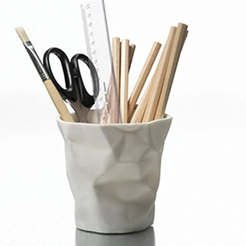 Chris-Wang 1Pcs Creative Out-of-Shape Wrinkle Plastic Pencil Cup/Pen Holder/Cosmetics Organizer/Desk Sorter Bin/Stationery Collection/Make-up Brush Tub(White) (Cup Modern White)