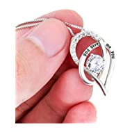 Gifts for her, Sterling Silver god gave me you Love Heart Pendant Necklace,, Best gift for wife,...