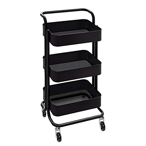 WLIVE 3-Tier Utility Cart, Metal Rolling Service Cart with Lockable Wheels for Office and Home
