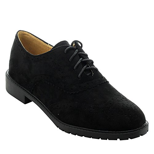 FOREVER GD61 Women's Lace Up Low Chunky Heel Casual Oxford Shoes, Color:BLACK, Size:7.5