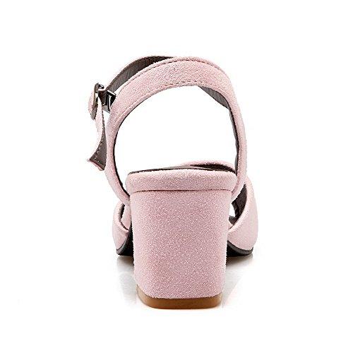 Rose Femme Unie Boucle Dépolissement à Couleur Sandales Ouverture Correct Talon AgooLar Petite HTWqSq