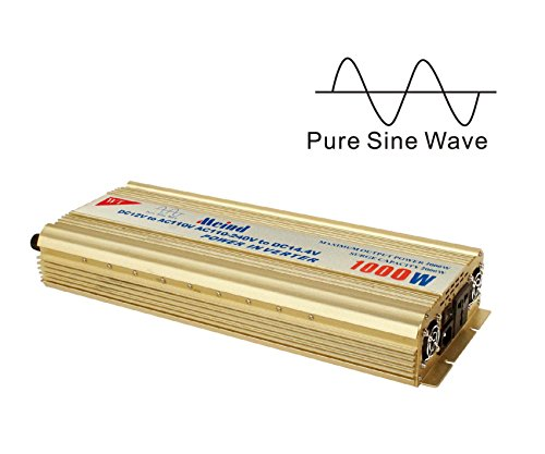 Pure sine wave Power inverter 1000 Watt peak 2000 W converter from 12 V DC to AC 110 Volt 120 V battery charge function (Input AC100V- 230V to output DC 13.8V ) (British Current Converter compare prices)