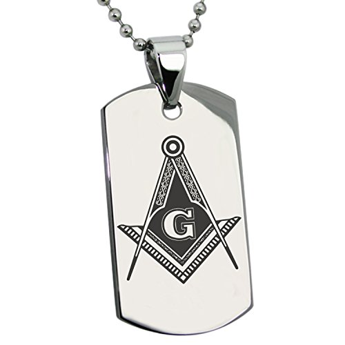 Tioneer Stainless Steel Freemasons Masonic Royal Compass Symbol Engraved Dog Tag Pendant Necklace - Symbol Dog Tag