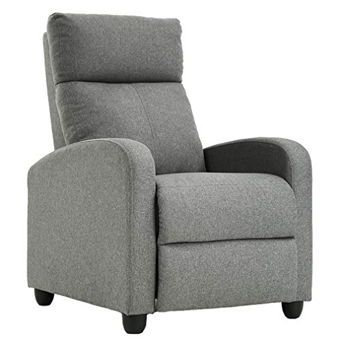 FDW Wingback Recliner Chair Single Modern Sofa Home Theater Seating for Living Room (Gray)