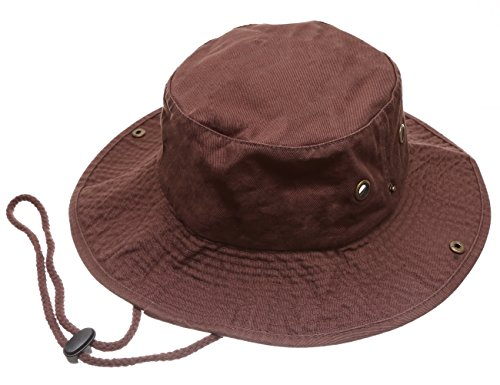 Summer Outdoor Boonie Hunting Fishing Safari Bucket Sun Hat with Adjustable Strap (Dark Brown,LXL) ()