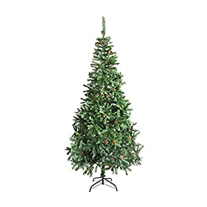 ALEKO CTPC59H17 Artificial Holiday Christmas Tree Snow Dusted Premium Pine with Stand and Pine Cones 5 Foot Green and White 110