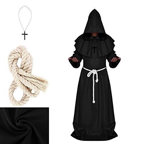 Halloween Monk Costume Adult Friar Medieval Hooded Monk Renaissance Priest Robe Cape Cloak Medieval Cowl Costume Cosplay (M, Black)