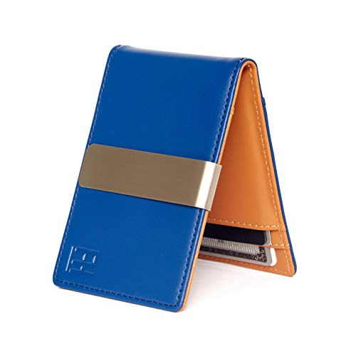 F&H Minimalist Slim Leather Wallet Money Clip Holds 8 Cards (Electric Blue/Sand)