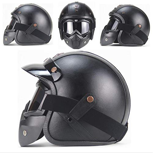 Leather Street Legal (Shfmx Motorbike Moped Cruise Touring Travellers Helmet Open Face Jet-with Goggle Mask&Visor ECE22.05 Approved Motorcycle Helmet(M,L,XL),L)