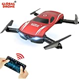 Global Drone GW186 Foldable Pocket Drone 3D Flips & Rolls Racing Quadcopter FPV WiFi Real-Time View 0.3MP Camera Altitude Hold (Red)