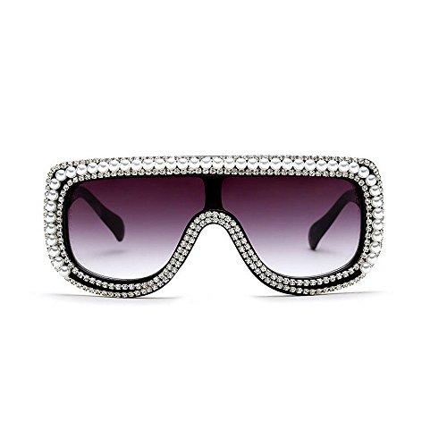 MINCL/Large Oversized Square Geometric Shine Style Diamond Women Sunglasses (pearl-black, - Glasses Sun Beautiful