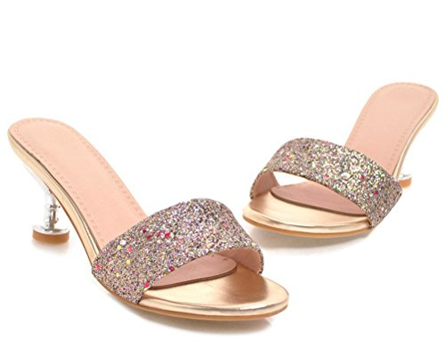 Clogs cm HiEase Glitter Strap Sandals Heels Gold Size Charm Sequins Slippers One 6 Kitten Slides Women's 11 4 HHw8qr7
