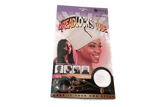 King.J Cotton Spandex Dreadlocks Tube - (White) (Metal Dreadlock Comb)