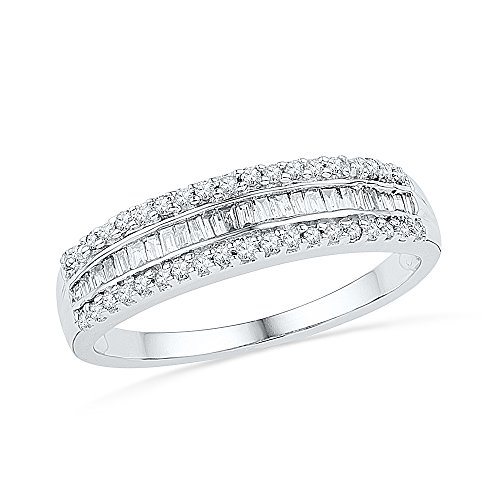 10KT White Gold Baguette and R