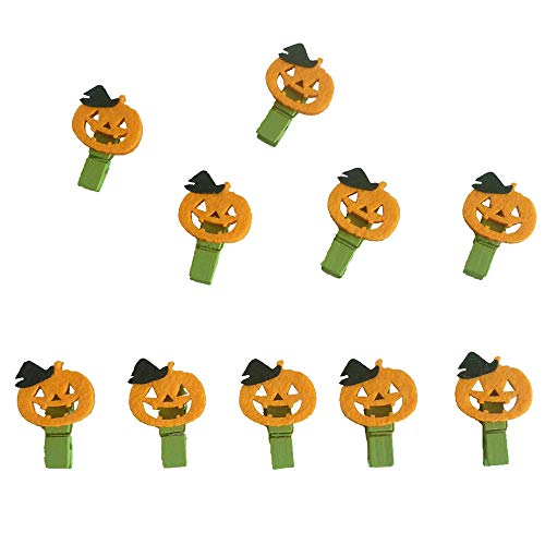 Hot Sale!DEESEE(TM)10pcs Halloween Pumpkin Wood Clip Clothespins Photo Clip Halloween Decor]()