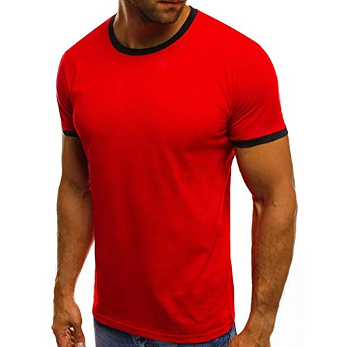 puxiaoa Men's T-Shirts 100% Soft Premium Cotton Undershirts Short Sleeve Summer Stitching Short-Sleeved Crew Neck T-Shirt Top Red XXXL -