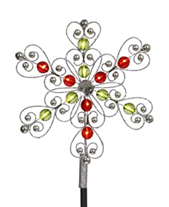 Amazon.com: Vickerman LED Lighted Silver Red Green Snowflake ...