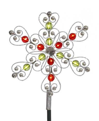Vickerman LED Lighted Silver Red Green Snowflake Christma...