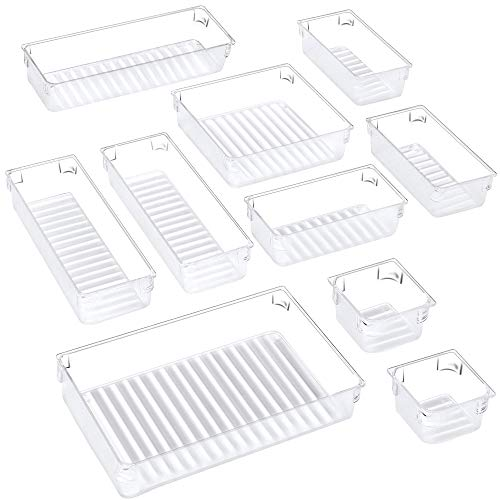 Puroma 10-pcs Desk Drawer Organizer Trays, 5 Different Sizes Large Capacity Plastic Bins Kitchen Drawer Organizers Bathroom Drawer Dividers for Makeup, Kitchen Utensils, Jewelries and Gadgets (Clear)