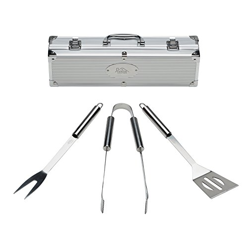 Grill Tools Set with Barbecue Accessories - Stainless Steel BBQ Utensils with Aluminum Case - Grilling Kit & Gifts for Men (3-Piece) - Grilling Kit
