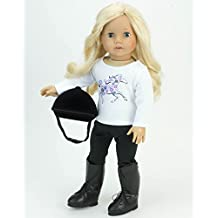 """18 Inch Doll Riding Boots, Fits 18"""" American Girl Dolls, Detailed with Laces, Classic Black Riding Boots."""