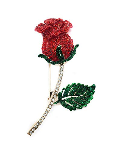 Ahugehome Women Brooch Pin Rose Flower Camellia Inlay Crystal Vintage Style Dress Party Wedding (G Rose Flower Crystal Gold red)
