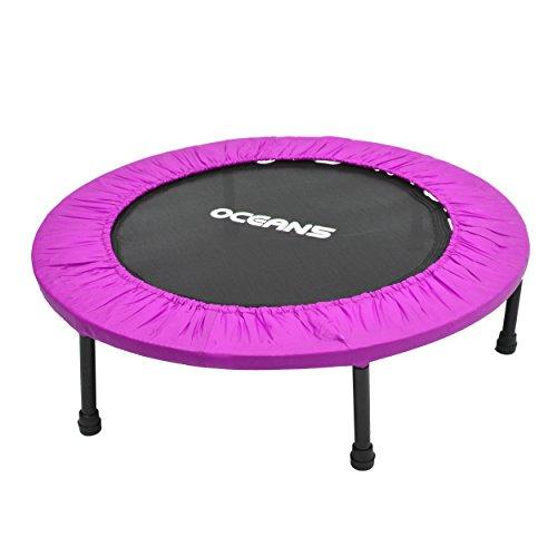 Ocean5 Easy Jump 100 Fitness-Trampolin mit Randabdeckung, Minitrampolin 90 cm Ø, Gesundheitstrampolin bis 120 kg belastbar, Farbe: lila