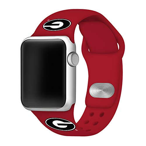 AFFINITY BANDS Georgia Bulldogs Silicone Watch Band Compatible with Apple Watch (38/40mm Red) - Licensed NCAA Watch Band