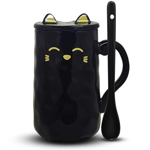 Anglice Home Cute Black Cat Mug, Funny Ceramic Coffee Mug with Spoon and Lid, Novelty Coffee Mug Cup Gift for Kitty Lovers
