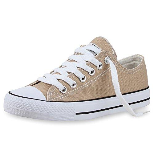 Zapatillas planas, unisex, deportivas Khaki Bianco