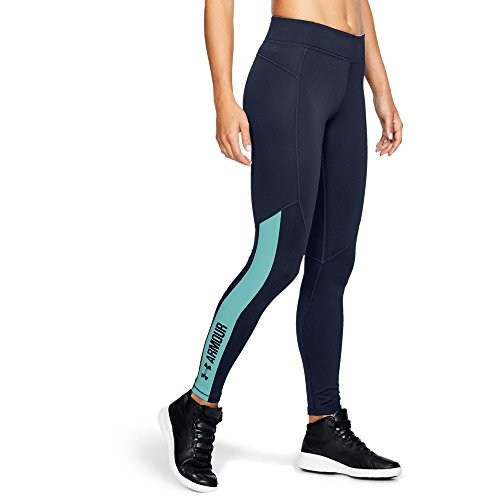 Under Armour Women's ColdGear Armour Graphic Leggings, Midnight Navy/Blue Infinity, Large