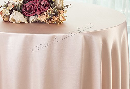 Wedding Linens Inc. 120″ Round Heavy Duty Seamless Satin tablecloths Table Cover Linens for Restaurant Kitchen Dining Wedding Party Banquet Events – Blush Pink