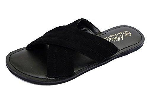 Damen Schwarz, Flach Bequem zum Reinschlüpfen Ledersandalen Flip Flop Schuhe Slider Pantolette Größen 3-9 - Schwarz, EU 36