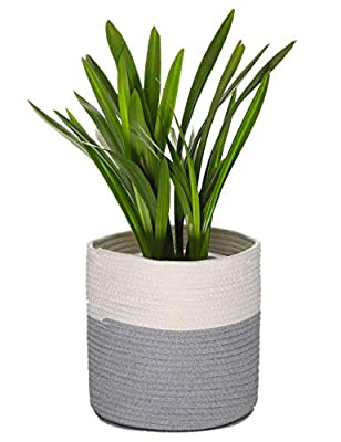 "YXMYH Sturdy Woven Plant Basket for 10"" Flower Pot Floor Indoor Planters,11"" x 11"" Storage Organizer Basket Rustic Home Decor,Toy Storage Basket for Kids' Room"